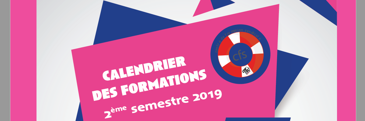 Calendrier des formations CFS 2ème semestre 2019
