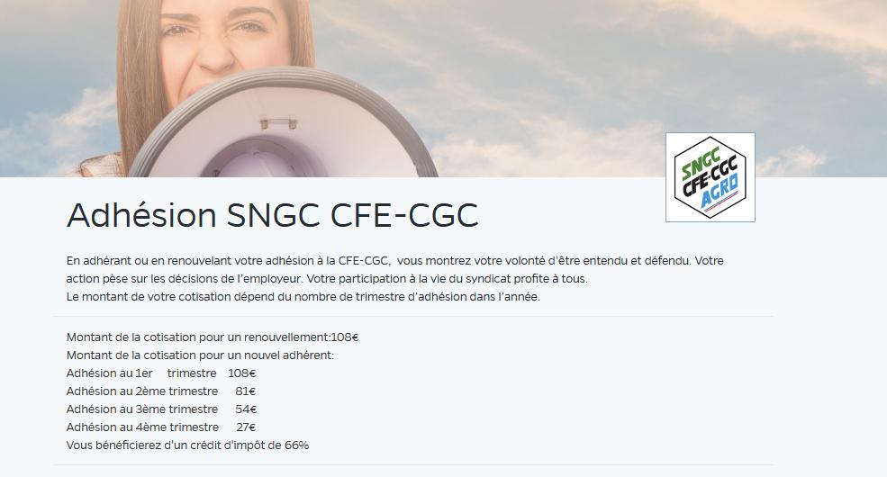 page adhésion CGE CGC Casino